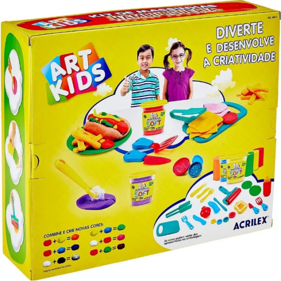 Kit massinha de modelar Art kids Hamburgueria 500g - acrilex
